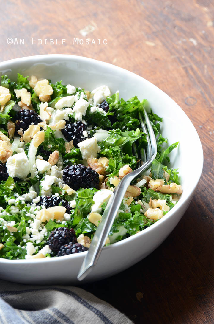Blackberry and Toasted Walnut Kale Salad with Goat Cheese 2