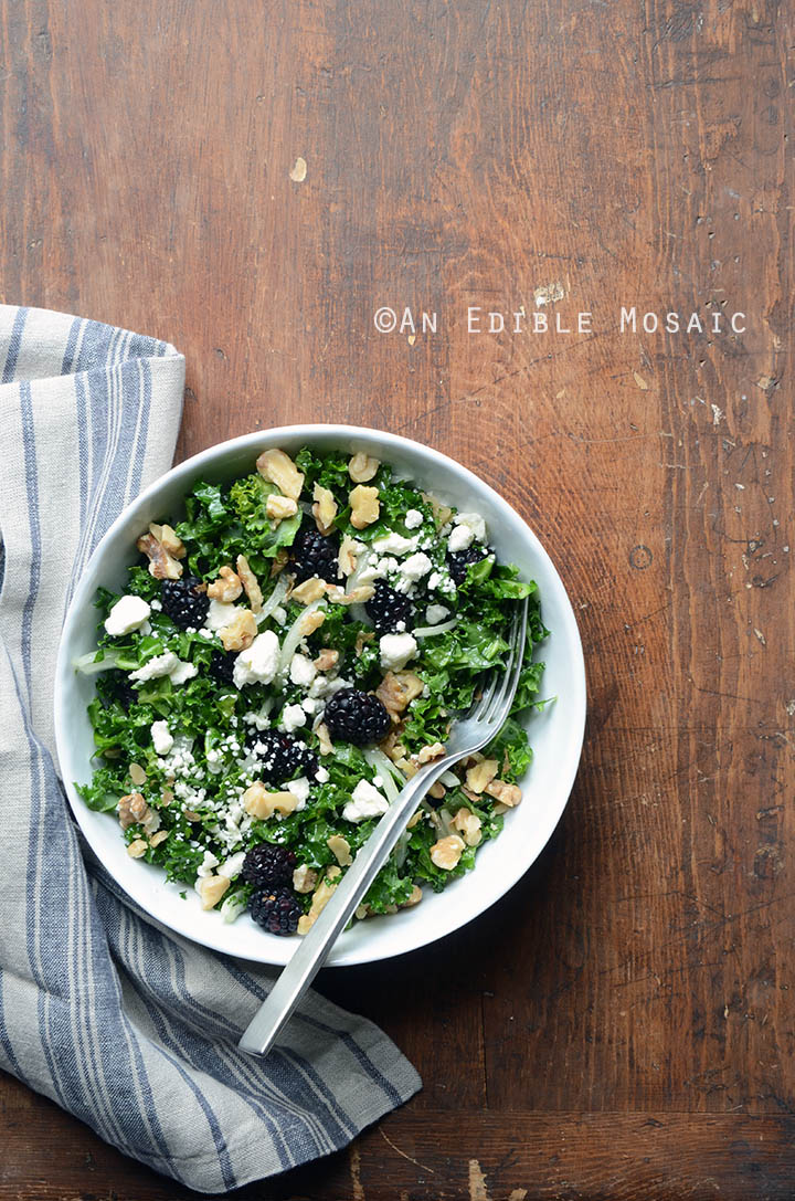 Blackberry and Toasted Walnut Kale Salad with Goat Cheese 3