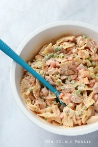 Buffalo Chicken Pasta Salad in Large White Bowl