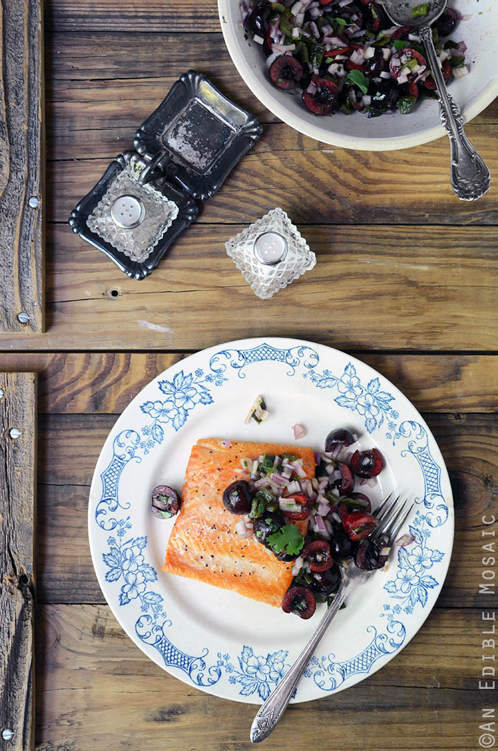 Seared Salmon with Fresh Cherry and Charred Poblano Chopped Salad {Paleo and Whole30} 1
