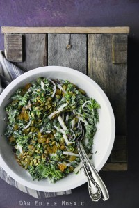Creamy Poppy Seed Kale Slaw with Red Pear, Toasted Pepitas, and Golden Raisins