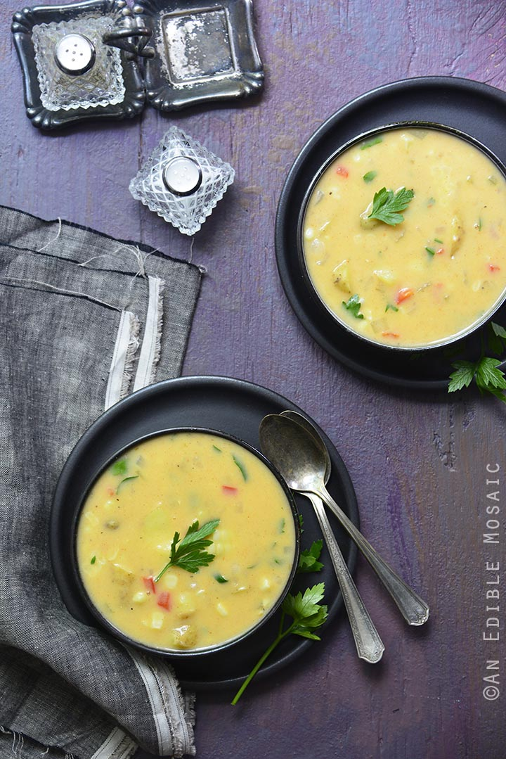 Smoky Idaho Fingerling Potato and Cheddar Chowder by An Edible Mosaic