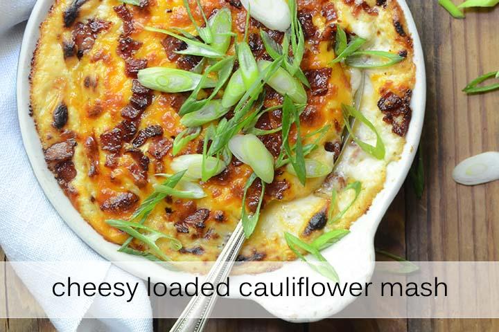 Cheesy Loaded Cauliflower Mash with Description