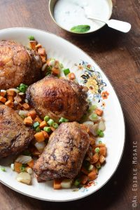 Jerk Roasted Chicken Thighs and Sweet Potato Dinner with Creamy Honey-Jalapeno Sauce {Paleo}