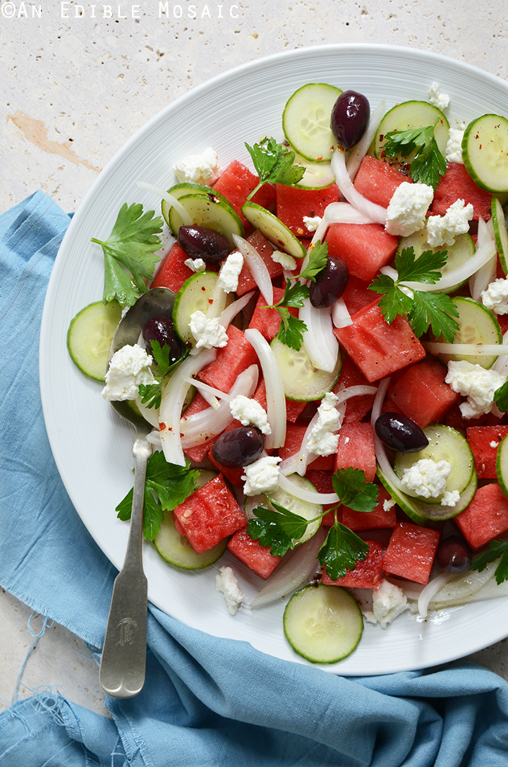Watermelon Salad with Sweet and Spicy Vinaigrette