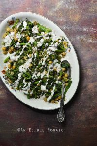 Braised Broccoli Rabe with Chickpeas, Za'atar, and Tahini Drizzle {Gluten-Free}