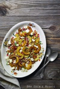 Roasted Delicata Squash Salad with Cinnamon-Toasted Hazelnuts and Pomegranate {Gluten-Free}