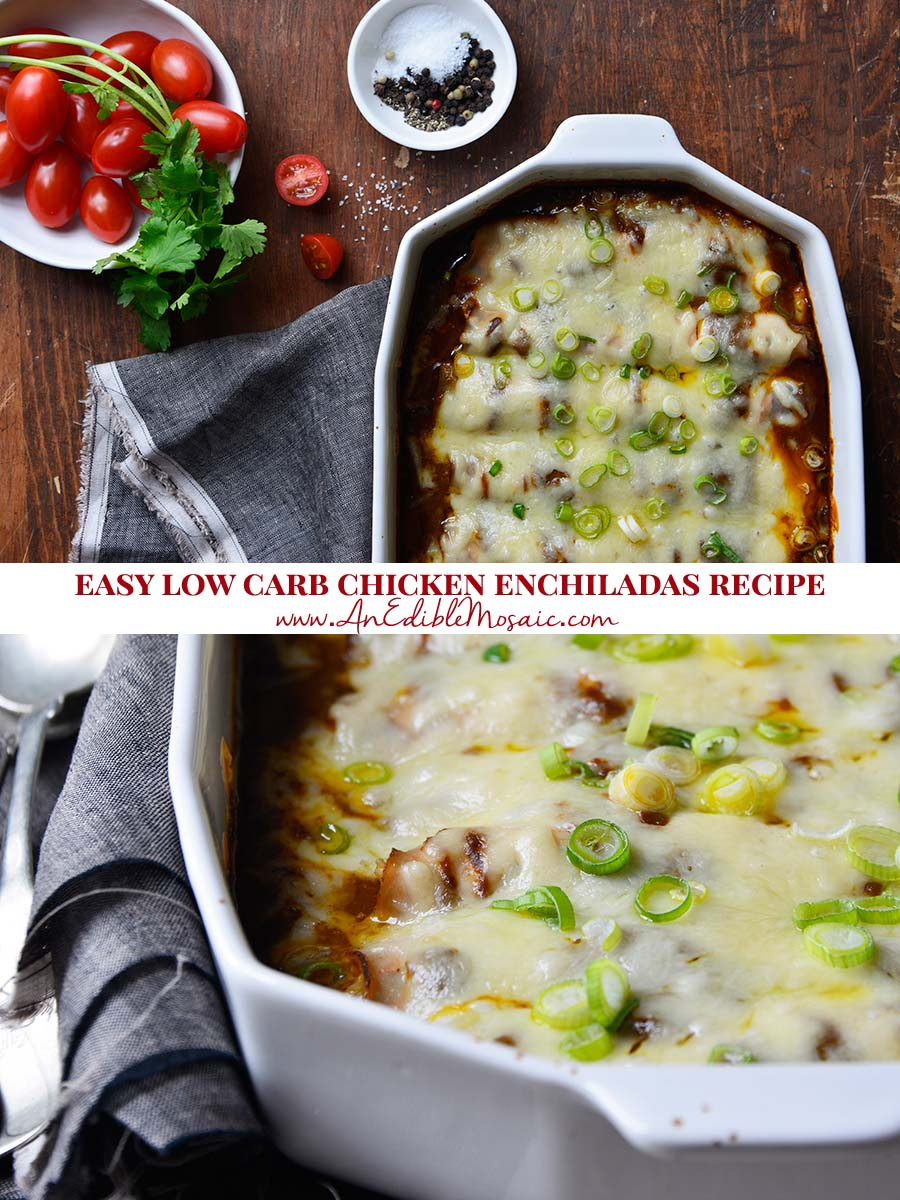 Easy Low Carb Chicken Enchiladas Recipe Pin