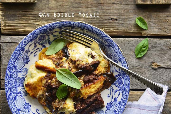 Low Carb Beef Eggplant Moussaka Casserole (Gluten Free) in Blue Bowl