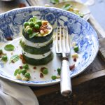 Zucchini Stacks in White and Blue Dish