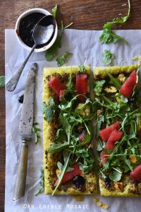 Garlic & Chives Goat Cheese and Pesto Puff Pastry Tart with Arugula, Watermelon, and Strawberry-Balsamic Drizzle