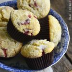 Strawberry Lemonade Muffins in a Blue Bowl on a Wooden Background