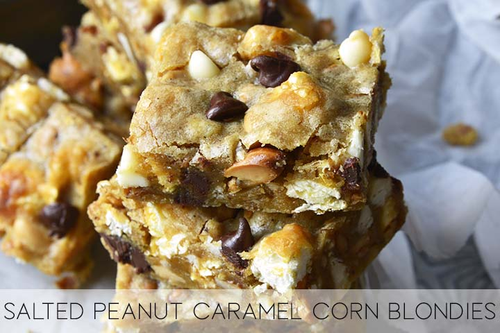 salted peanut caramel corn blondies with description