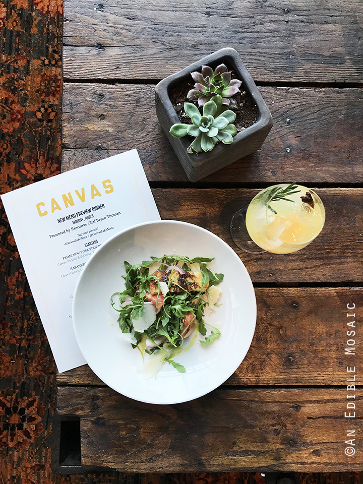 Panzanella Salad with Menu at Canvas in Orlando
