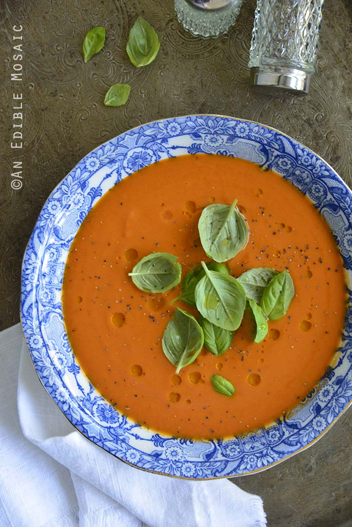 Hot or Chilled Blushing Strawberry Onion and Tomato Soup on Metal Tray Overhead View Vertical Orientation