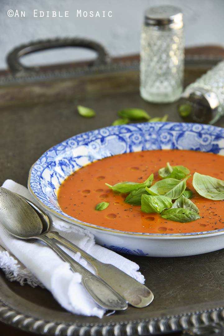 Hot or Chilled Blushing Strawberry Onion and Tomato Soup on Metal Tray Front View Vertical Orientation