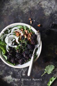 Vegan Herbed Black Rice, Black Lentils, and Black Quinoa Pilaf Salad Bowls with Blackberries