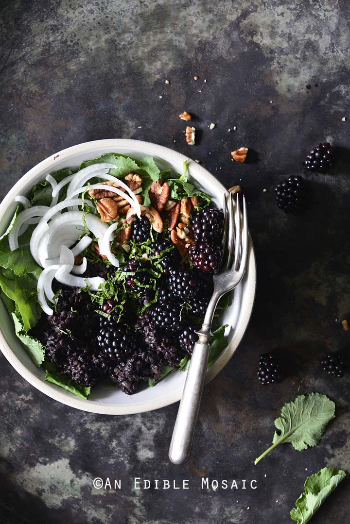 Vegan Herbed Black Rice, Black Lentils, and Black Quinoa Pilaf Salad Bowls with Blackberries on Weathered Metal Background Top View Vertical Orientation