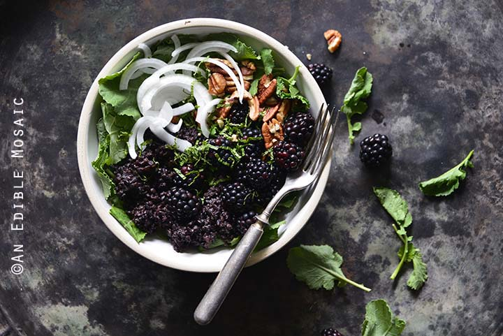 Vegan Herbed Black Rice, Black Lentils, and Black Quinoa Pilaf Salad Bowls with Blackberries on Weathered Metal Background Top View Horizontal Orientation