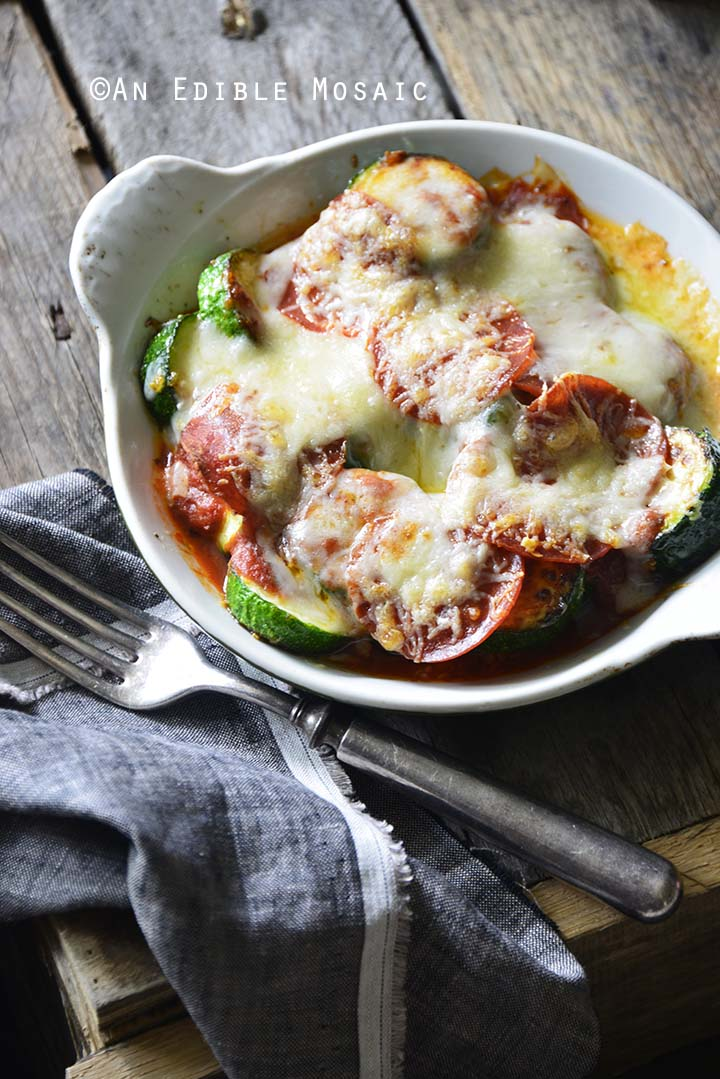 15-Minute Low-Carb Zucchini Pizza Bake for One Front View Vertical Orientation