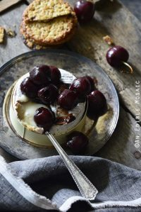 Baked Goat Brie with Balsamic-Roasted Cherries