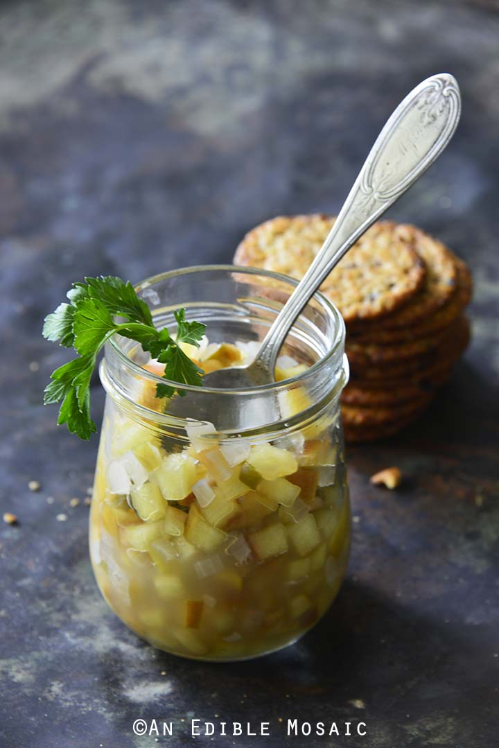 Glass Jar of Easy Apple Jalapeno Relish