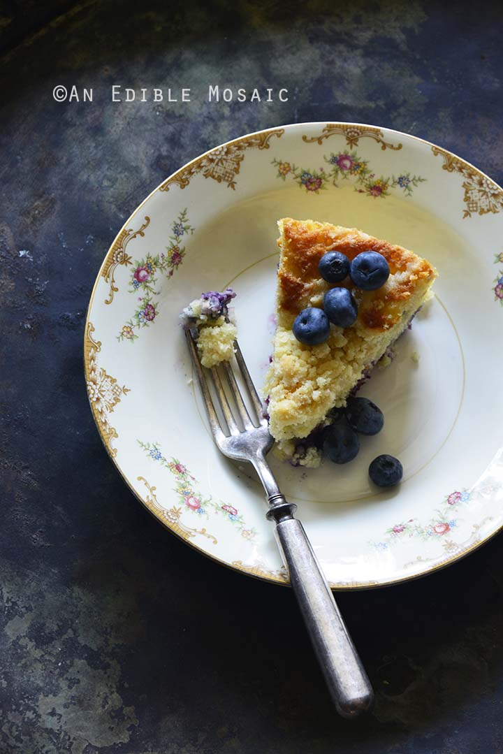 Crumble-Topped Blueberry Buttermilk Coffee Cake Metal Background Top View Vertical Orientation