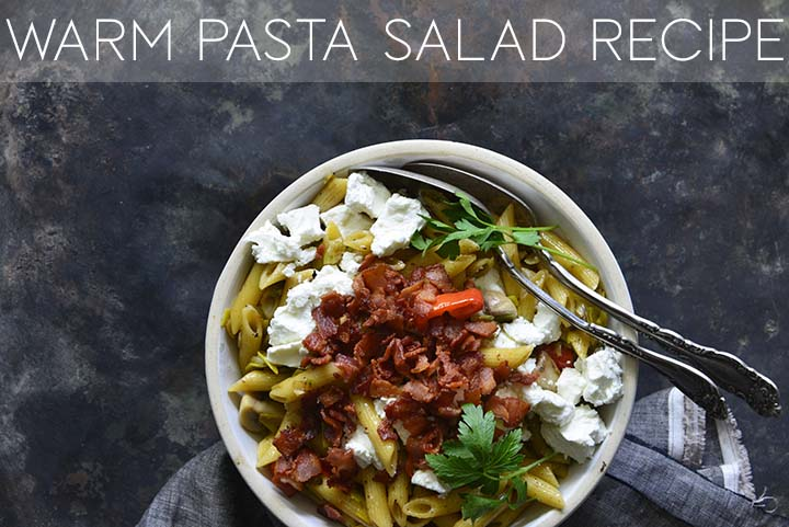 warm pasta salad with bacon with description