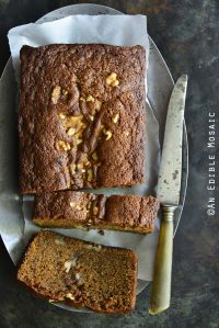 Chai-Spiced Brown Butter Pumpkin Walnut Loaf Cake Top View