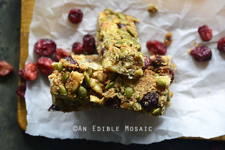 Cranberry Pumpkin Pie Spice Seed and Nut Bars Top View Horizontal Orientation