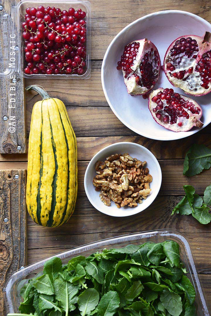 Ingredients for Roasted Winter Squash Salad with Spiced Walnuts, Red Currants, and Pomegranate Balsamic Vinaigrette
