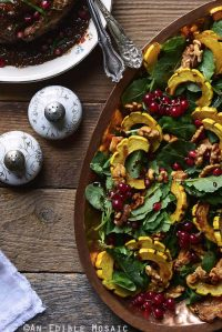 Roasted Winter Squash Salad with Spiced Walnuts, Red Currants, and Pomegranate Balsamic Vinaigrette