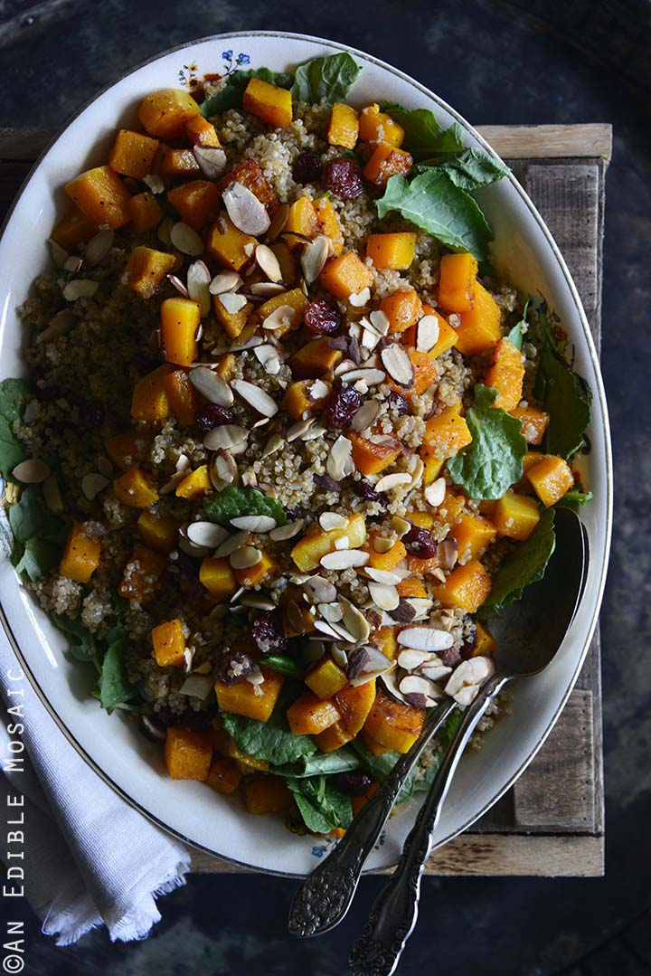 Sweet and Savory Quinoa Pilaf with Cranberries, Roasted Butternut Squash, and Toasted Almonds Top View on Wooden Crate Vertical Orientation