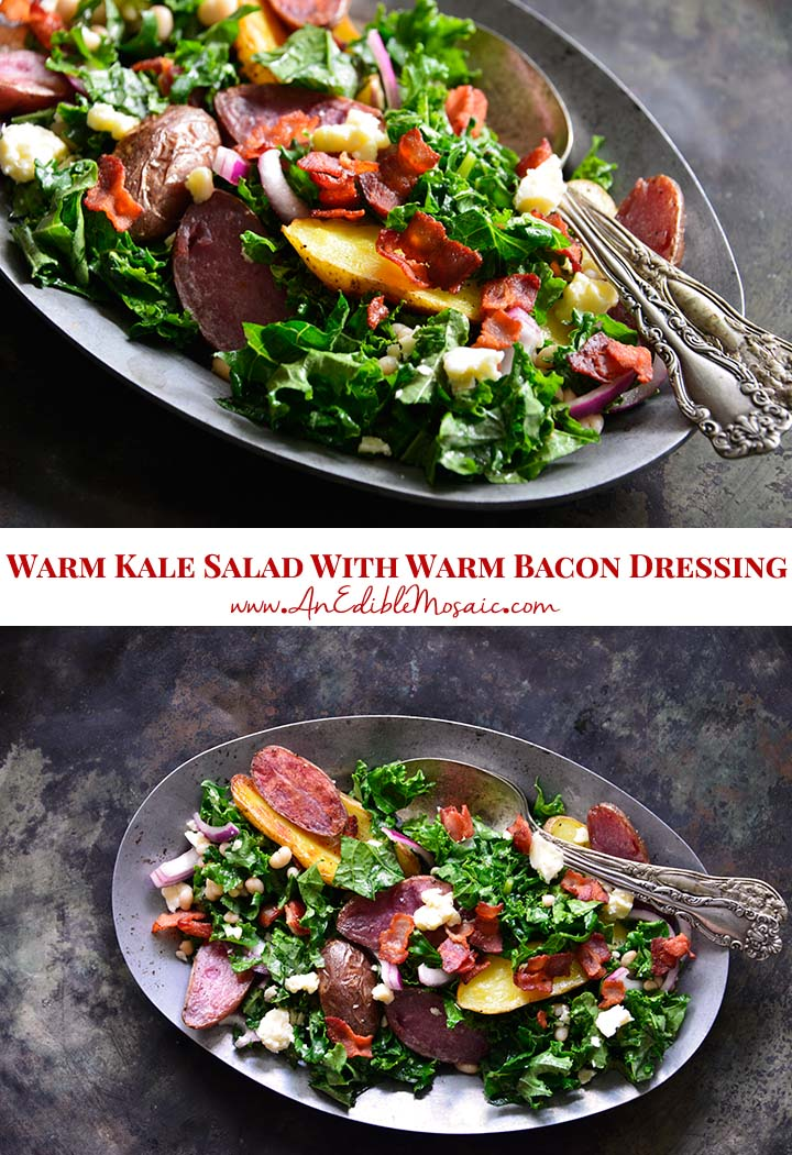Warm Kale Salad Recipe with Roasted Potato and Warm Bacon Dressing Pin