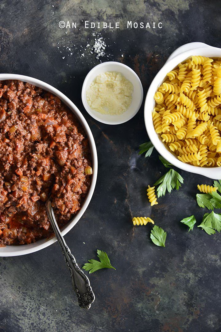 Bolognese and Pasta on Metal Tray