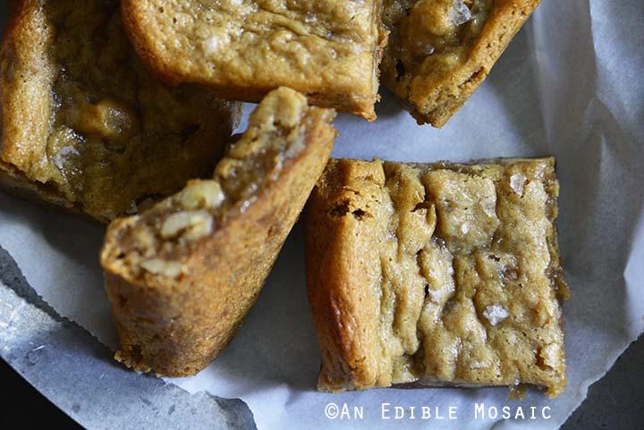 Flourless Pecan Pie Cashew Butter Blondies Top View