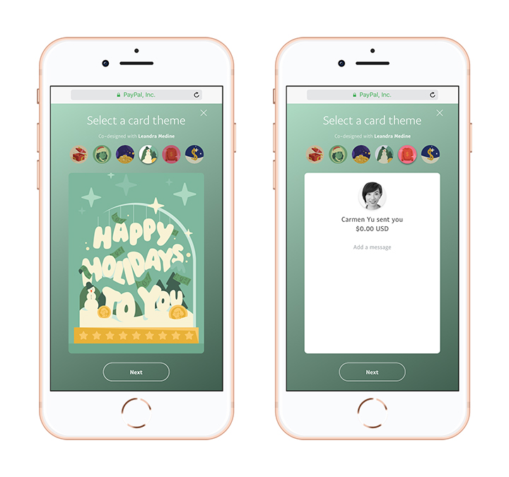 PayPal P2P Holiday Greetings Front and Back Mobile
