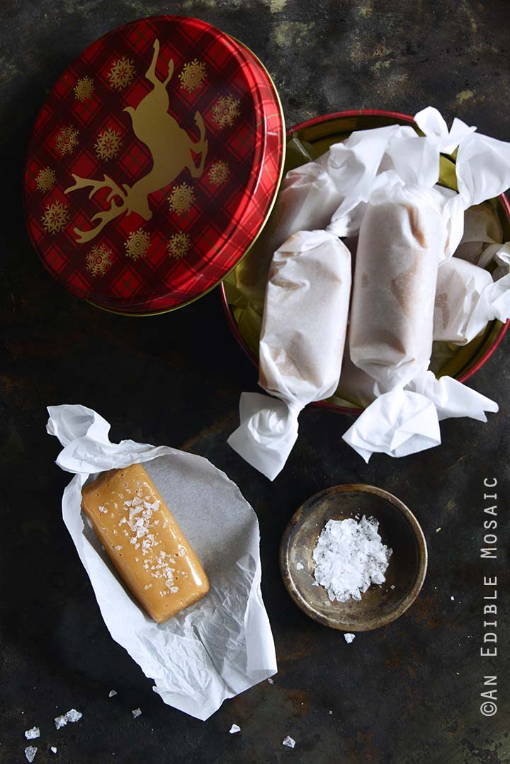Soft and Chewy Peanut Butter Salted Caramels with Peanut Butter & Co.® with Festive Tin