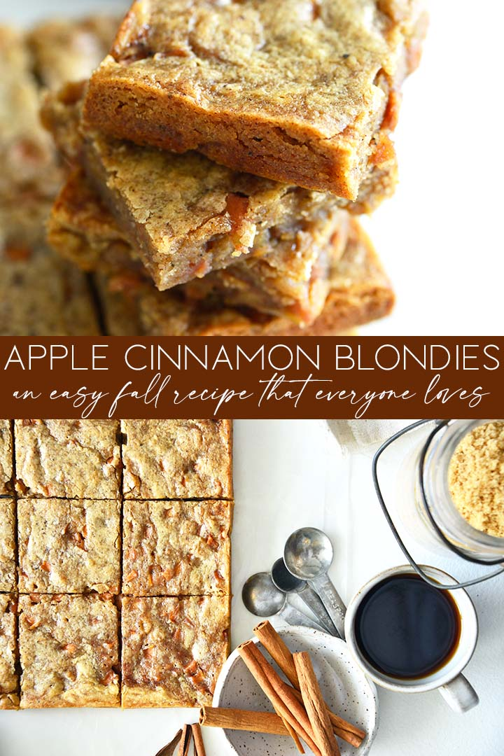 apple cinnamon blondies recipe graphic