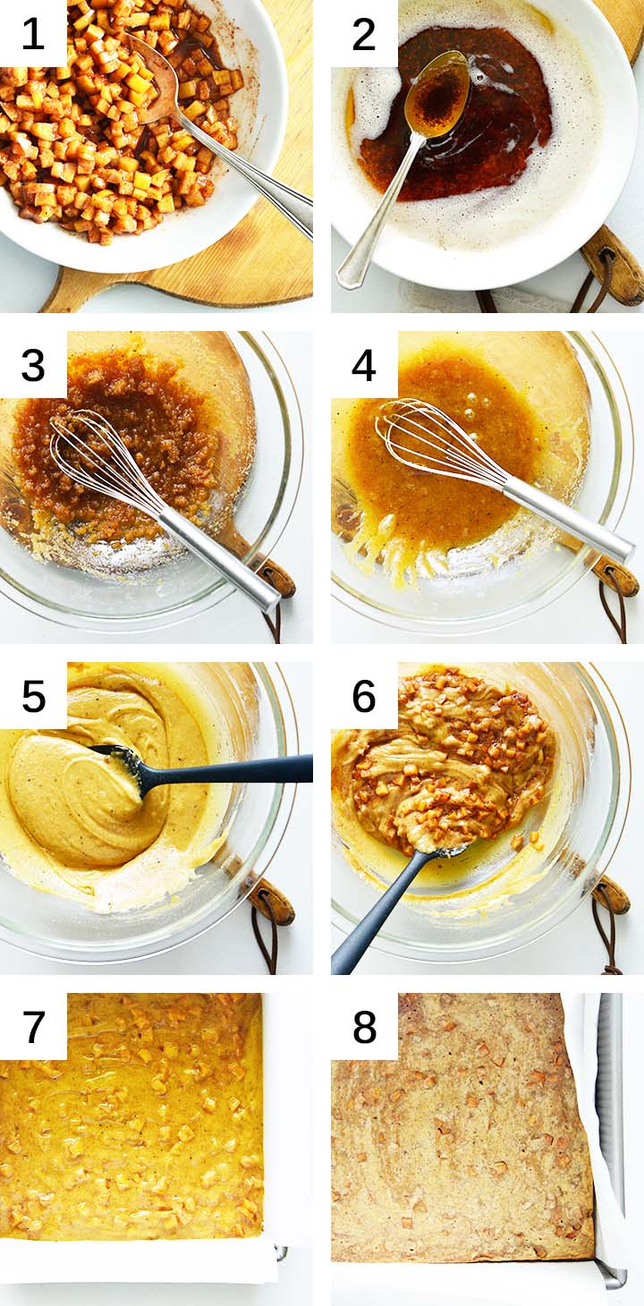 how to make apple blondies collage