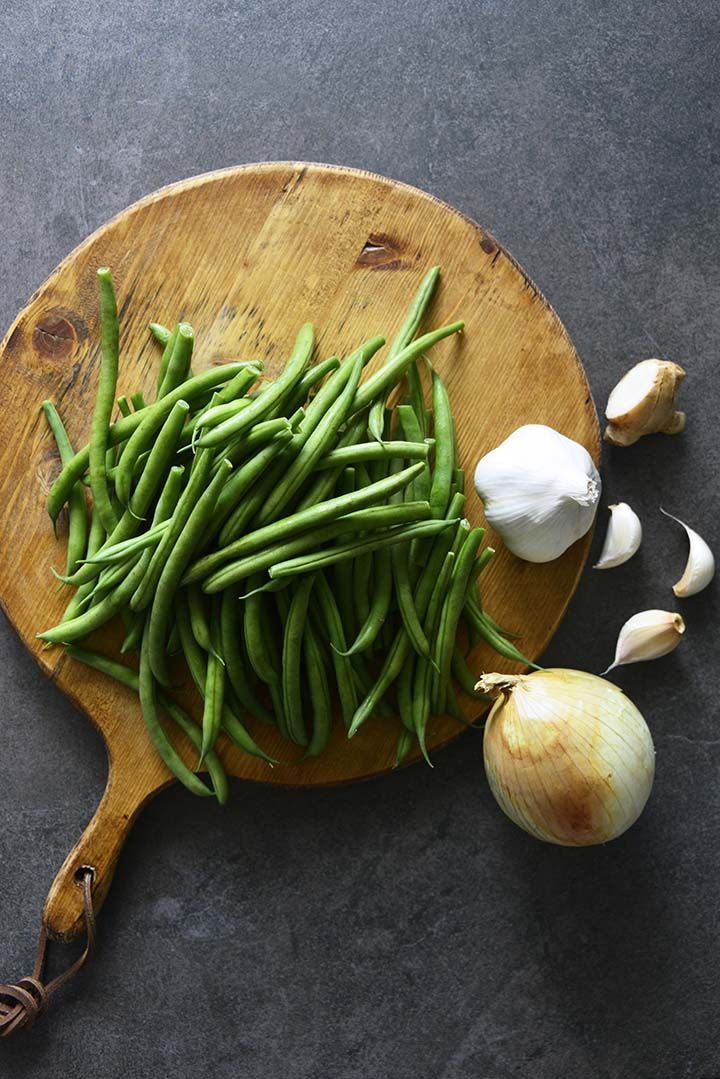 Green Beans on Wooden Cutting Board
