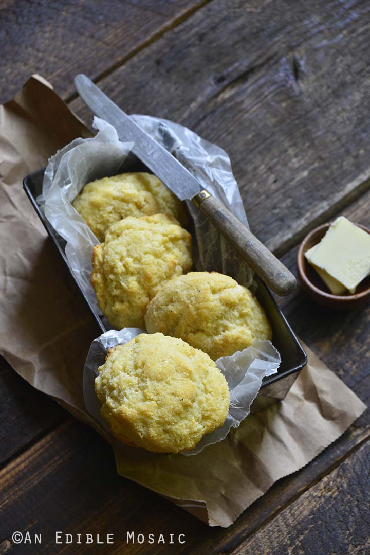 Low Carb Biscuits Recipe on Dark Wooden Table