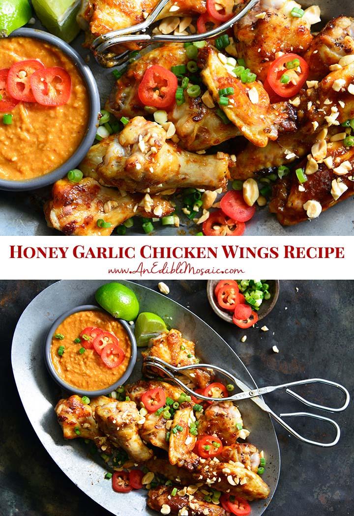Honey Garlic Chicken Wings Recipe Pin