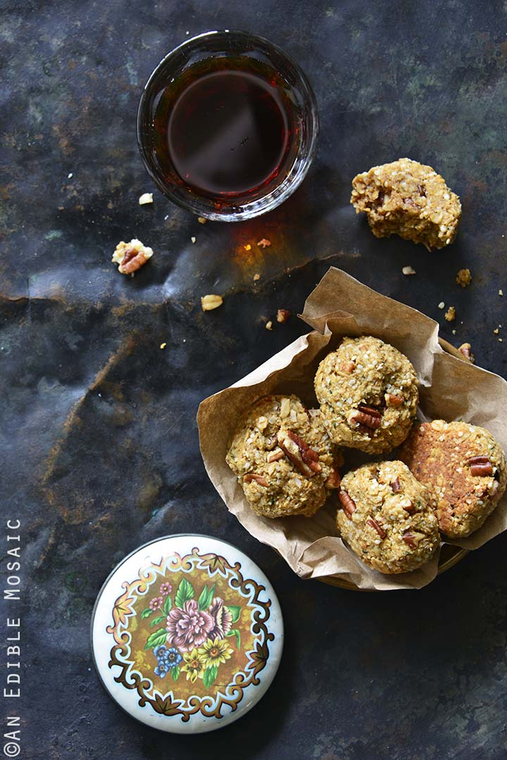 Maple Pecan Lactation Cookies and Drink Overhead View Vertical Orientation