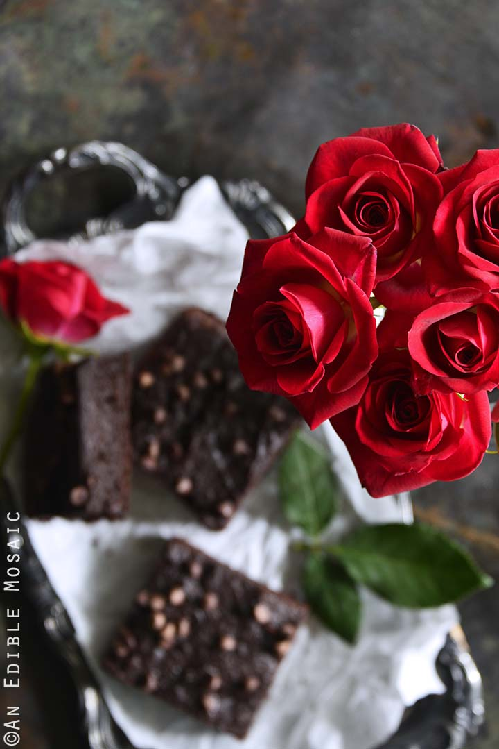 Roses with Tray of The Best Fudgy Low-Carb Keto Brownies
