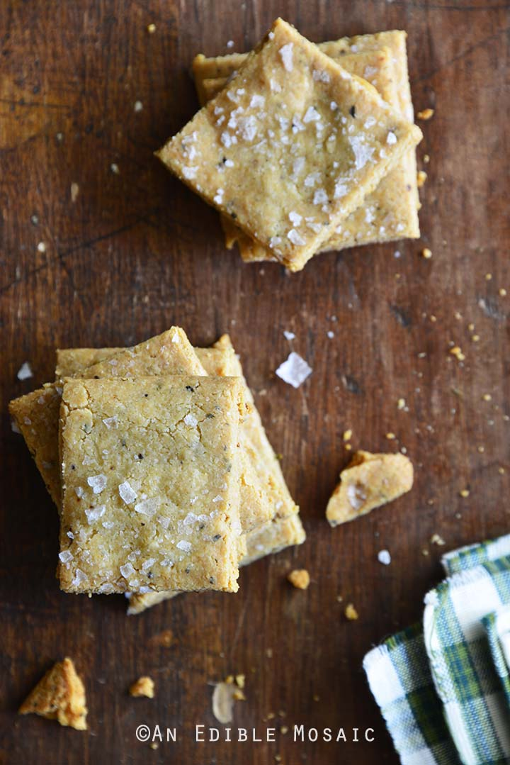 Gluten Free Savory Parmesan-Garlic Crackers Top View Vertical Orientation