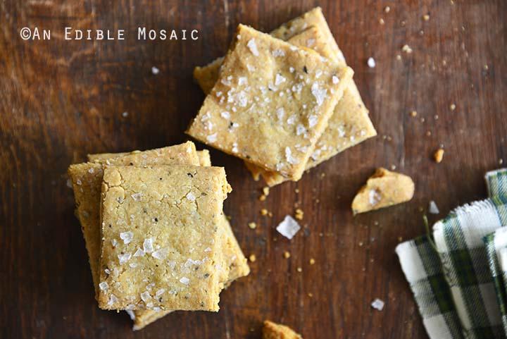 Gluten Free Savory Parmesan-Garlic Crackers Top View Horizontal Orientation
