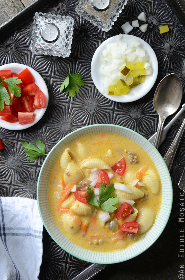 Macaroni and Cheeseburger Vegetable Soup