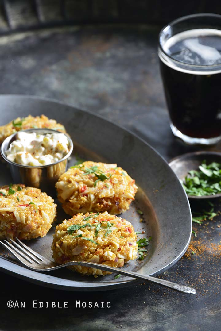Old Bay Roasted Red Pepper Quinoa Seafood Cakes with Drink