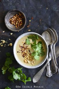 Panang Curry Red Lentil Soup with Fresh Cilantro and Crushed Red Pepper Flakes